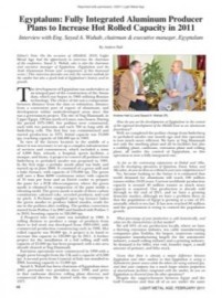 Egyptalum: Fully Integrated Aluminum Producer Plans to Increase Hot Rolled Capacity in 2011, Interview with Eng. Sayed A. Wahab, chairman & executive manager, Egyptalum