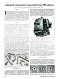 Joining of Magnesium Components Using Al Fasteners