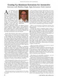 Gearing Up Aluminum Extrusions for Automotive, Interview with Matthias Kapp, Sapa Extrusions North America