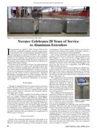 Novatec Celebrates 20 Years of Service to Aluminum Extruders