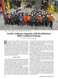 Arvida Casthouse Upgrades with Revolutionary Billet Casting Technology