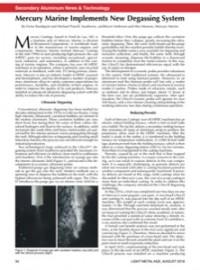 Secondary Aluminum News & Technology: Mercury Marine Implements New Degassing System