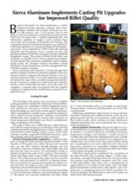 Sierra Aluminum Implements Casting Pit Upgrades for Improved Billet Quality