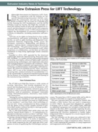 Extrusion Industry News & Technology: New Extrusion Press for LIFT Technology