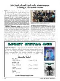 Mechanical and Hydraulic Maintenance Training - Extrusion Presses