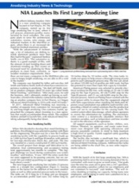 :   Anodizing Industry News & Technology: NIA Launches Its First Large Anodizing Line