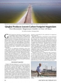 Qinghai Produces Lowest-Carbon Footprint Magnesium: First Electrolytic Magnesium Smelter in Over 20 Years