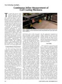 New Technology Spotlight: Continuous Inline Measurement of Coil Coating Thickness