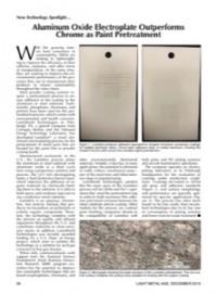 New Technology Spotlight: Aluminum Oxide Electroplate Outperforms Chrome as Paint Pretreatment
