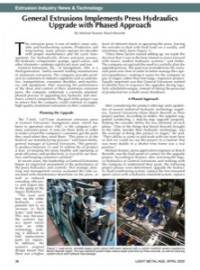 Extrusion Industry News & Technology: General Extrusions Implements Press Hydraulics Upgrade with Phased Approach