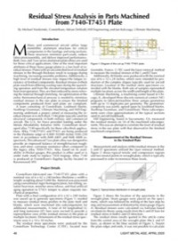 Residual Stress Analysis in Parts Machined from 7140-T7451 Plate