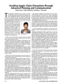 Avoiding Supply Chain Disruptions Through Advanced Planning and Communication:  Interview with Roxana Molina, Novelis