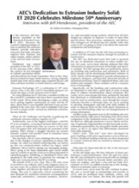 AEC's Dedication to Extrusion Industry Solid: ET 2020 Celebrates Milestone 50th Anniversary — Interview with Jeff Henderson, president of the AEC