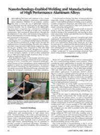 Nanotechnology-Enabled Welding and Manufacturing of High Performance Aluminum Alloys