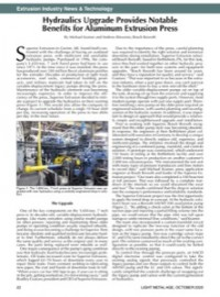 Extrusion Industry News & Technology: Hydraulics Upgrade Provides Notable Benefits for Aluminum Extrusion Press