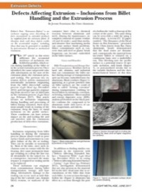 Defects Affecting Extrusion - Inclusions from Billet Handling and the Extrusion Process