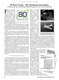 80 Years Young – The Aluminum Association: Celebrating the Enduring Metal through Service and Leadership