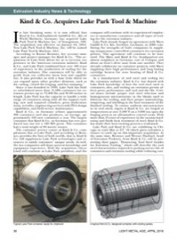 Extrusion Industry News & Technology: Kind & Co. Acquires Lake Park Tool & Machine