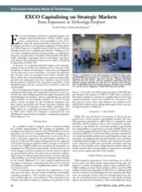 Extrusion Industry News & Technology: EXCO Capitalizing on Strategic Markets – Texas Expansion at Technology Forefront